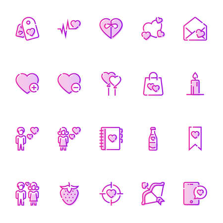 Gradient color outline icons for valentine day.