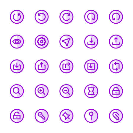 Purple color outline icons for ui ux.