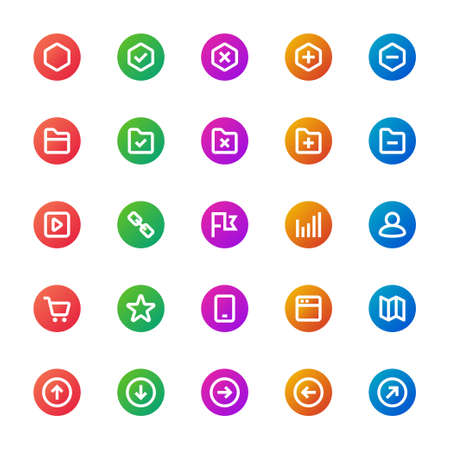 Gradient color icons for ui ux.