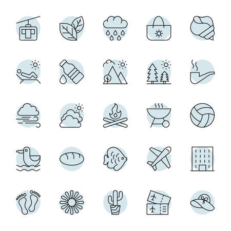 Circle outline icons for summer. Illustration