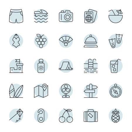 Circle outline icons for summer. Ilustração