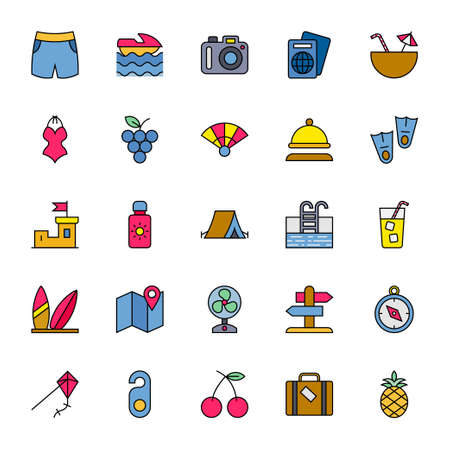 Filled color outline icons for summer.