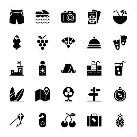 Black glyph icons for summer.