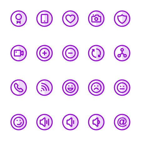 Purple color outline icons for social networks.