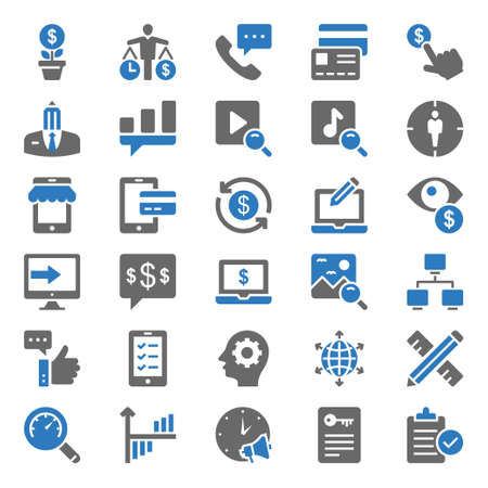 Two color icons for seo & web. Illustration