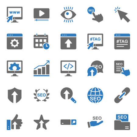 Two color icons for seo & web.