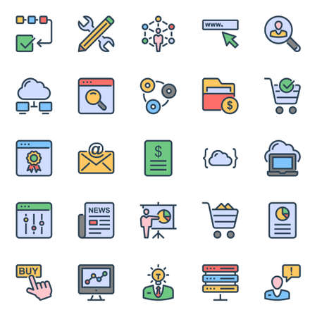 Filled color outline icons for seo & web.