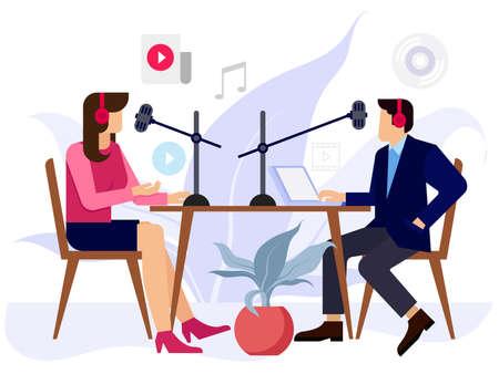 Radio jockey's reading news in radio station Vektorové ilustrace