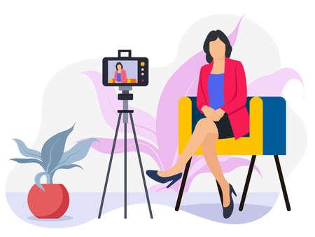 Female shooting video on her mobile Illustration