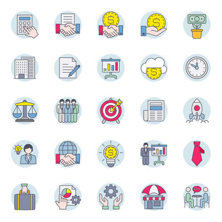Filled color outline icons for business.
