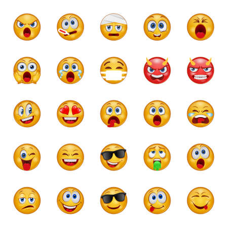 Gradient color icons for emojis. Vector Illustration