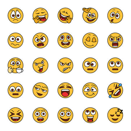 Filled color outline icons for emojis.