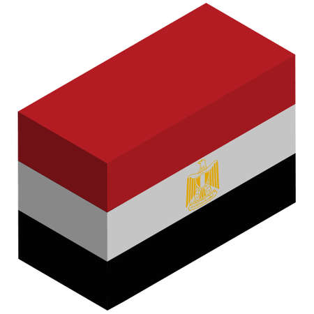 National flag of Egypt - Isometric 3d rendering. 向量圖像