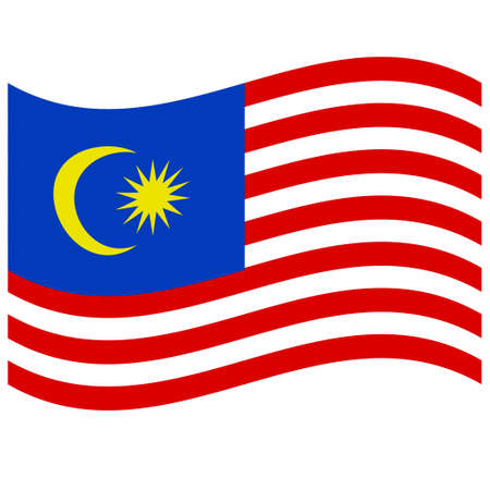 National flag of Malaysia - Flat color icon.