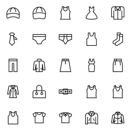 Outline icons for clothes.