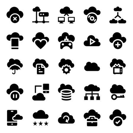 Glyph icons for cloud computing.