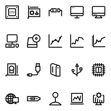 Outline icons for computer hardware.