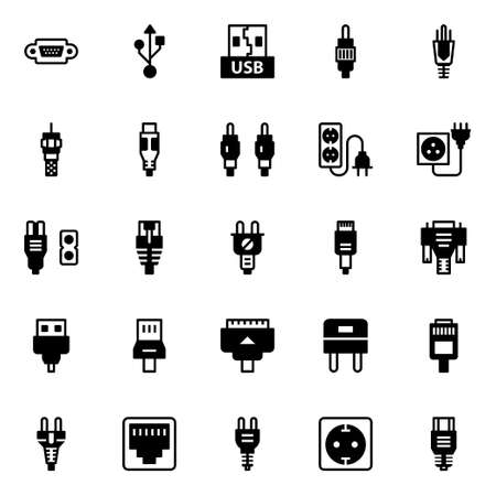 Glyph icons for connectors & cables. 向量圖像