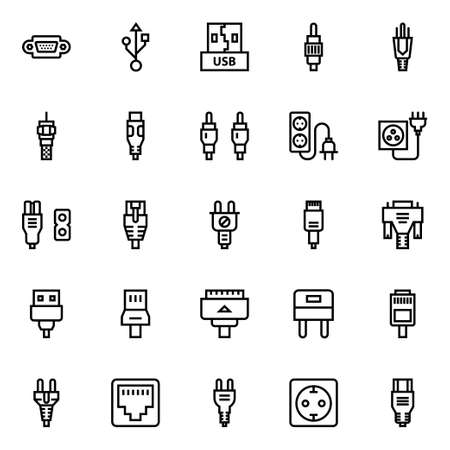 Outline icons for connectors & cables. 向量圖像