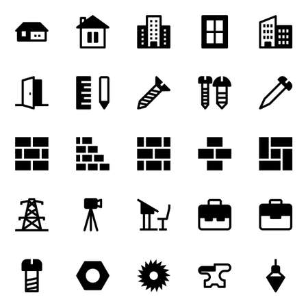 Glyph icons for construction. 向量圖像