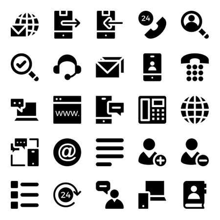 Glyph icons for contact us.