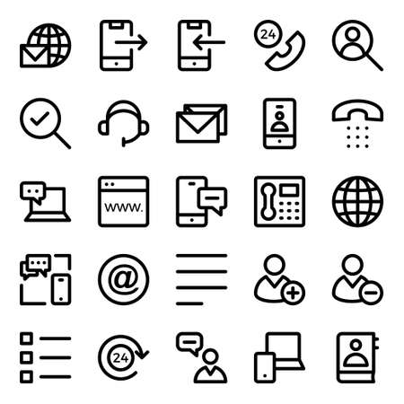 Outline icons for contact us.