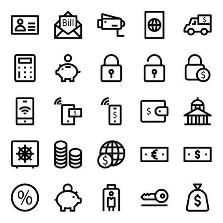 Outline icons for credit card payments.