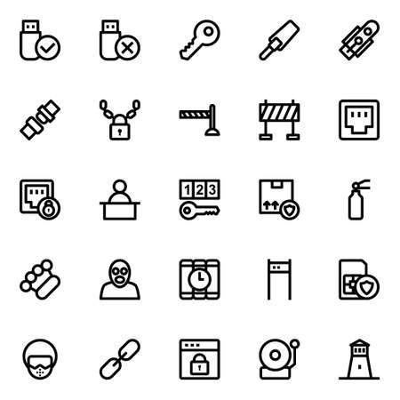 Outline icons for crime and security. 向量圖像