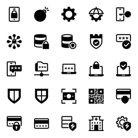 Glyph icons for cyber security. 向量圖像