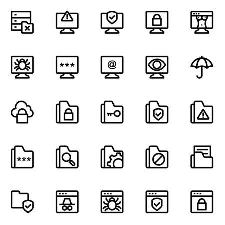 Outline icons for cyber security.