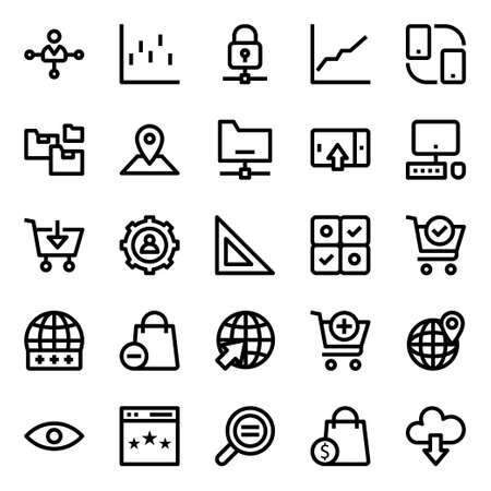 Outline icons for data analytics. 向量圖像