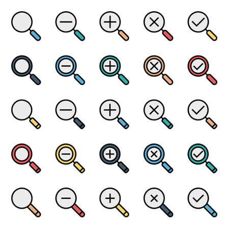 Filled outline icons for magnifier glass.