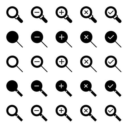 Glyph icons for magnifier glass. 向量圖像