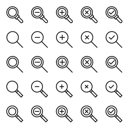 Outline icons for magnifier glass. 向量圖像