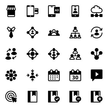 Glyph icons for digital marketing.