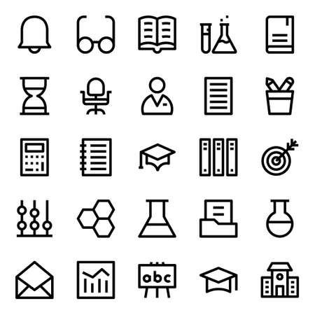 Outline icons for education.