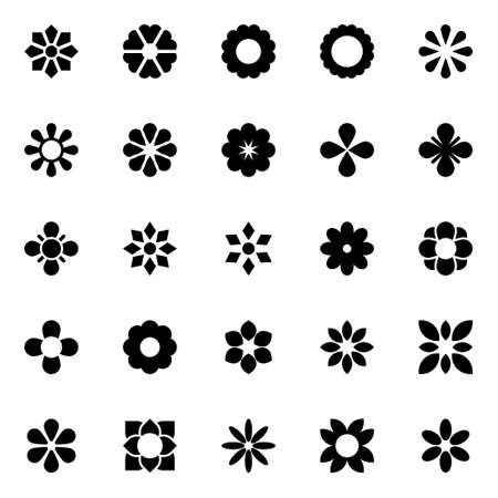 Glyph icons for flowers. Vektorové ilustrace