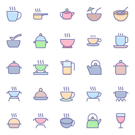 Filled color outline icons for food.
