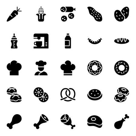 Glyph icons for food. 向量圖像