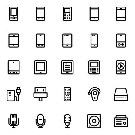 Outline icons for gadgets and devices.
