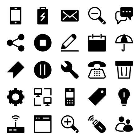 Glyph icons for internet. Vetores