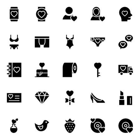 Glyph icons for love and valentine.