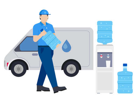 Man delivering water bottle