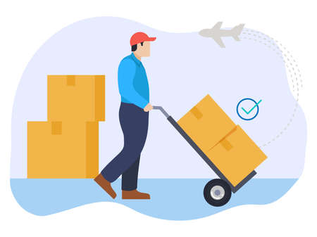 International shipping service parcel illustration Векторная Иллюстрация