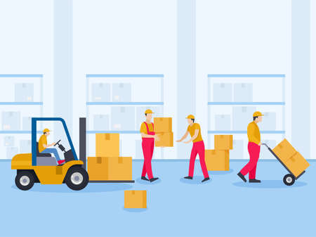 Workers arranging packages in warehouse