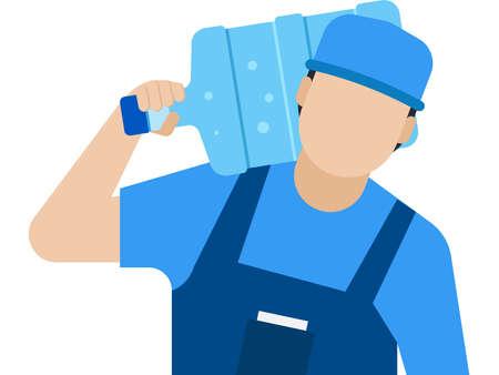 Delivery Man carrying water bottle on his shoulder Векторная Иллюстрация