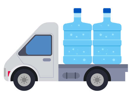 Water delivery truck supply illustration
