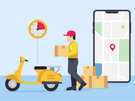 Delivery guy going to deliver parcel