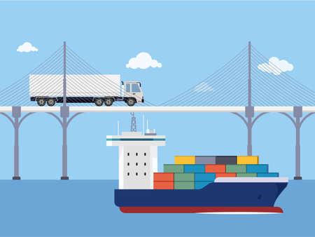 Shipping service cargo deliver illustration Векторная Иллюстрация