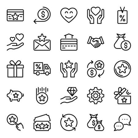 Outline icons for loyalty.